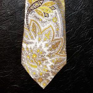 Banana Republic Yellow Paisley 100% Silk Tie